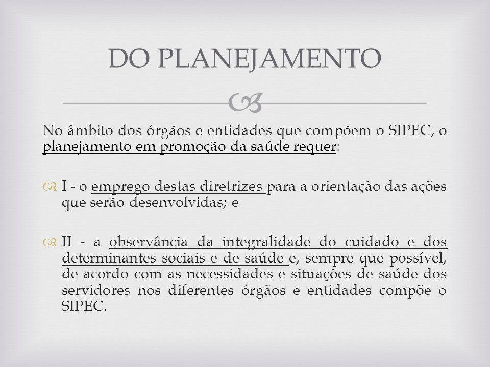 No âmbito dos órgãos e entidades que compõem o SIPEC, o planejamento em promoção da saúde requer: I - o emprego destas diretrizes para a orientação da