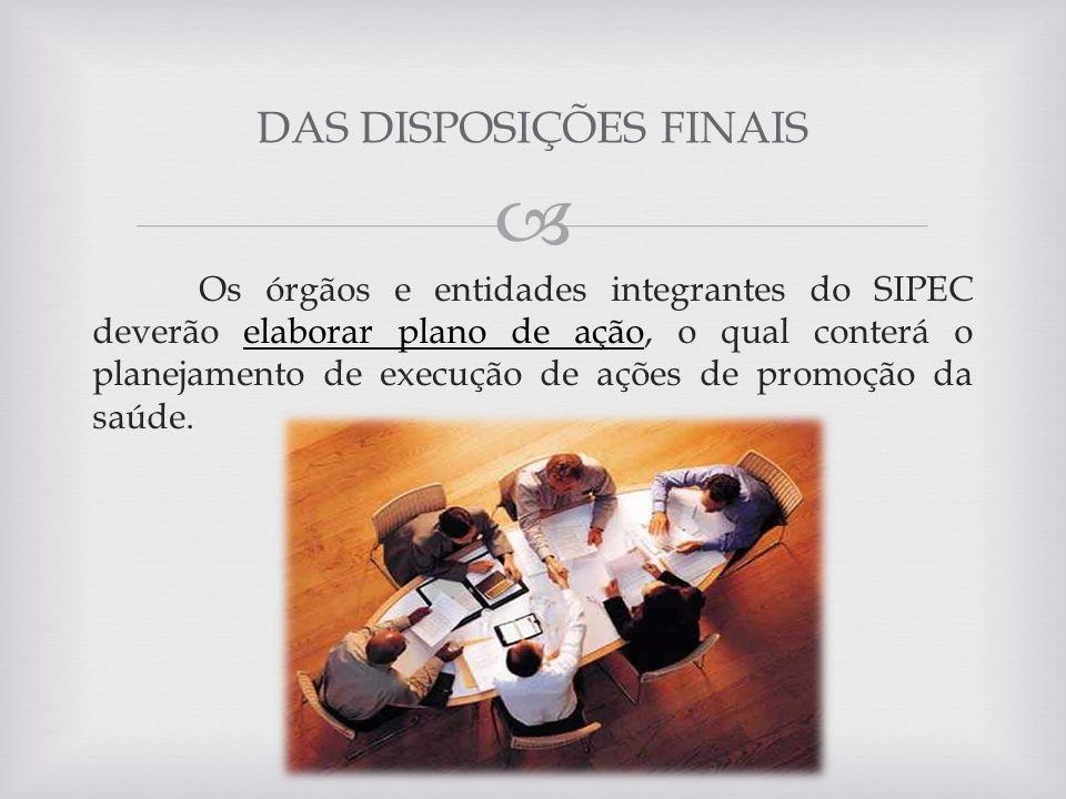 Os órgãos e entidades integrantes do SIPEC deverão elaborar plano de ação, o qual conterá o planejamento de execução de ações de promoção da saúde. DA