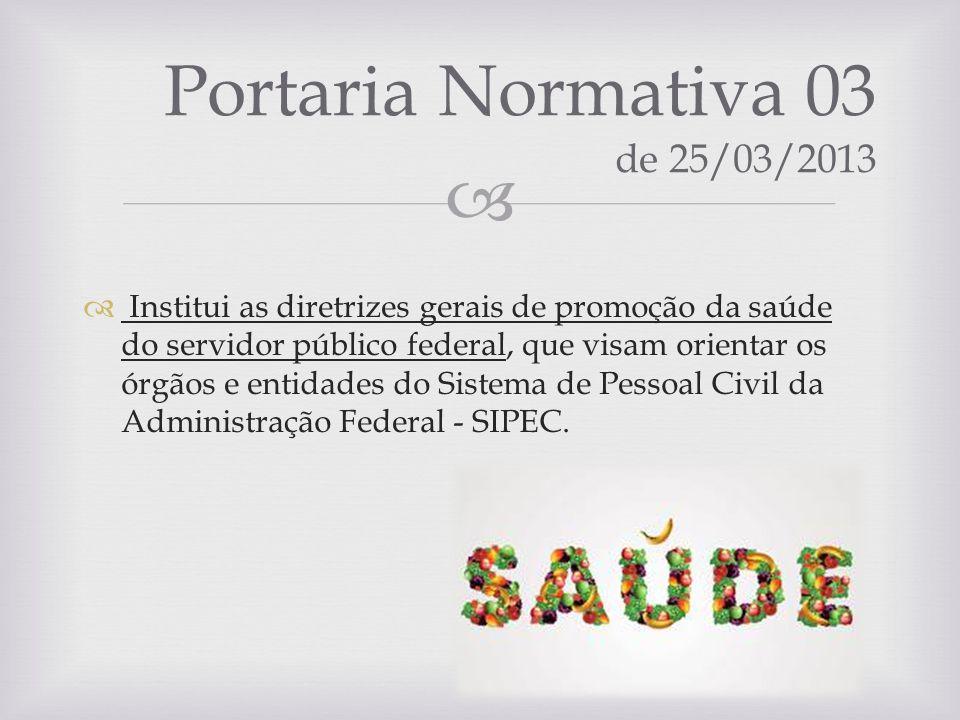 Institui as diretrizes gerais de promoção da saúde do servidor público federal, que visam orientar os órgãos e entidades do Sistema de Pessoal Civil d