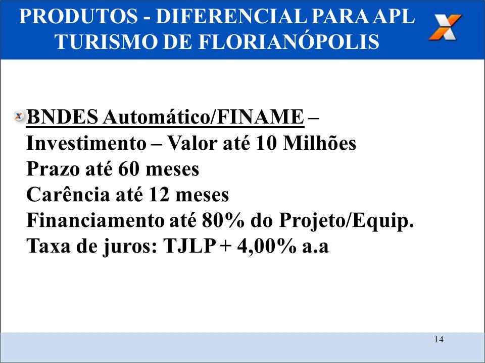 14 PRODUTOS - DIFERENCIAL PARA APL TURISMO DE FLORIANÓPOLIS BNDES Automático/FINAME – Investimento – Valor até 10 Milhões Prazo até 60 meses Carência