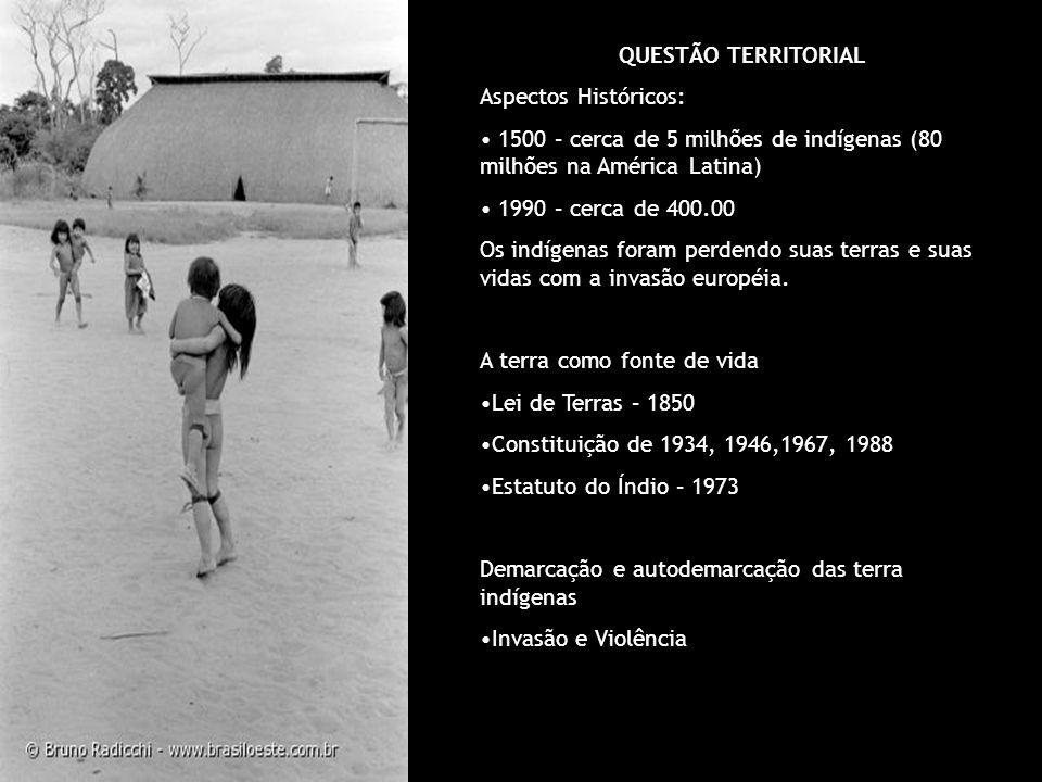 QUESTÃO TERRITORIAL Aspectos Históricos: 1500 – cerca de 5 milhões de indígenas (80 milhões na América Latina) 1990 – cerca de 400.00 Os indígenas for