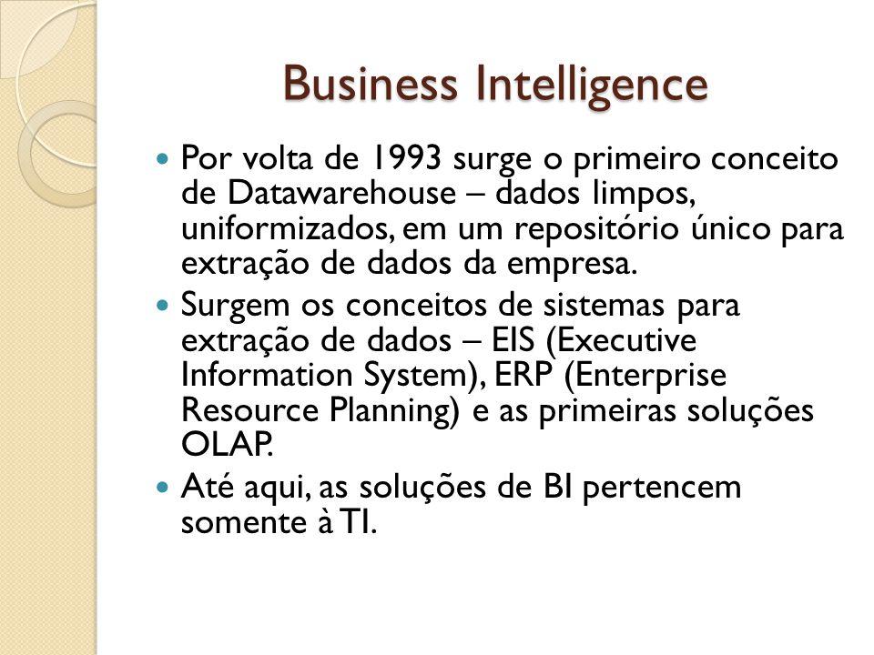 Business Intelligence Por volta de 1993 surge o primeiro conceito de Datawarehouse – dados limpos, uniformizados, em um repositório único para extraçã