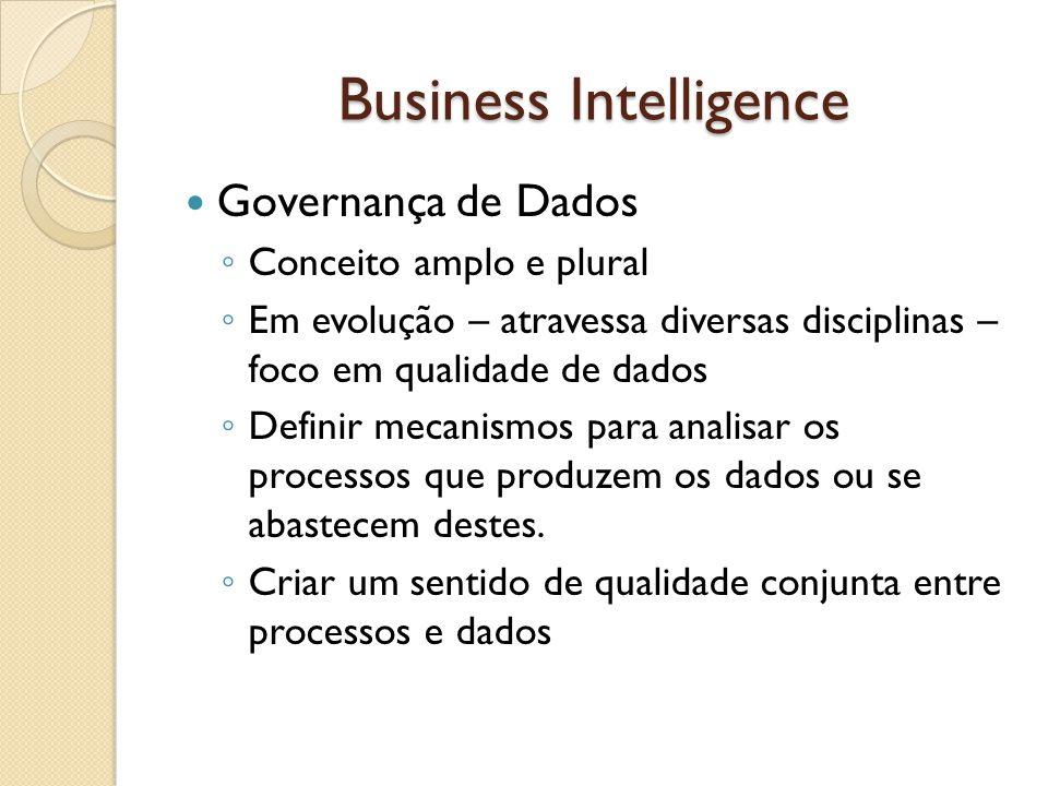 Business Intelligence Governança de Dados Conceito amplo e plural Em evolução – atravessa diversas disciplinas – foco em qualidade de dados Definir me