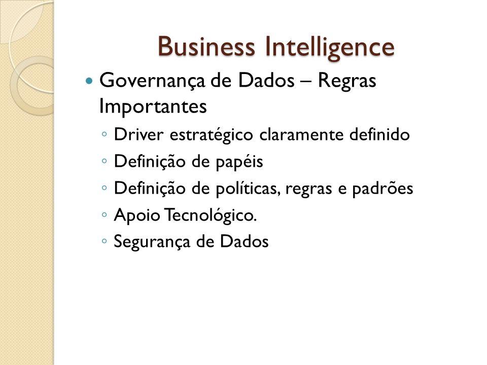 Business Intelligence Governança de Dados – Regras Importantes Driver estratégico claramente definido Definição de papéis Definição de políticas, regr