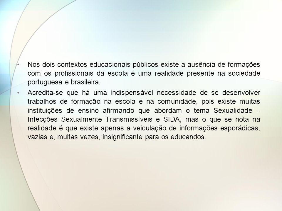 Nos dois contextos educacionais públicos existe a ausência de formações com os profissionais da escola é uma realidade presente na sociedade portugues