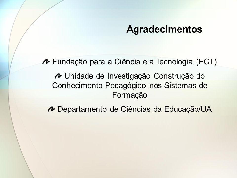 Agradecimentos Fundação para a Ciência e a Tecnologia (FCT) Unidade de Investigação Construção do Conhecimento Pedagógico nos Sistemas de Formação Dep