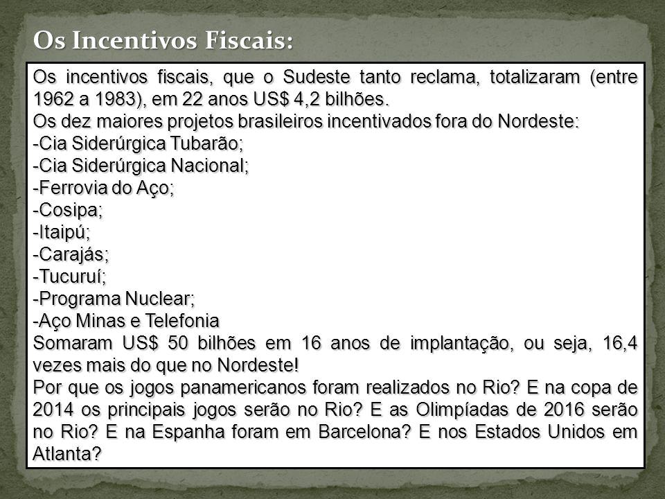Os Incentivos Fiscais: Os incentivos fiscais, que o Sudeste tanto reclama, totalizaram (entre 1962 a 1983), em 22 anos US$ 4,2 bilhões.