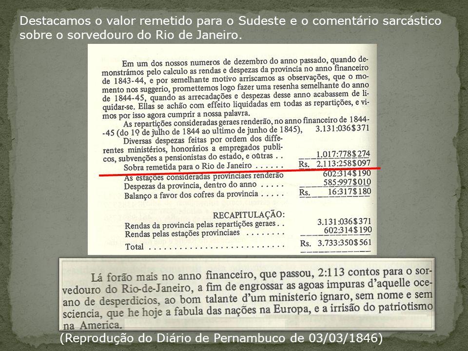 (Reprodução do Diário de Pernambuco de 03/03/1846) Destacamos o valor remetido para o Sudeste e o comentário sarcástico sobre o sorvedouro do Rio de Janeiro.