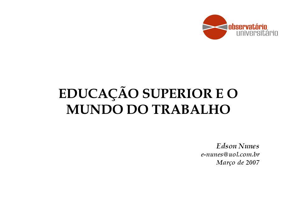 EDUCAÇÃO SUPERIOR E O MUNDO DO TRABALHO Edson Nunes e-nunes@uol.com.br Março de 2007