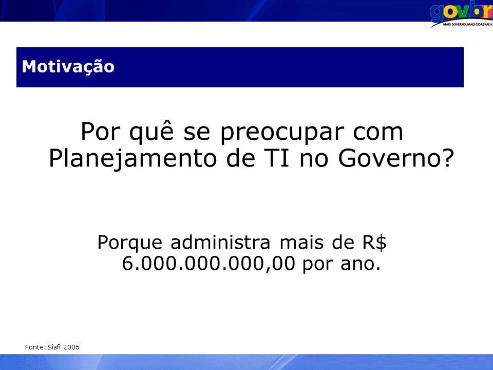 Motivação Por quê se preocupar com Planejamento de TI no Governo? Porque administra mais de R$ 6.000.000.000,00 por ano. Fonte: Siafi 2006