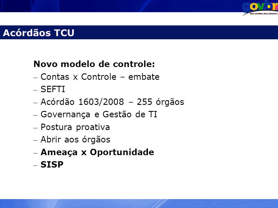 Novo modelo de controle: – Contas x Controle – embate – SEFTI – Acórdão 1603/2008 – 255 órgãos – Governança e Gestão de TI – Postura proativa – Abrir