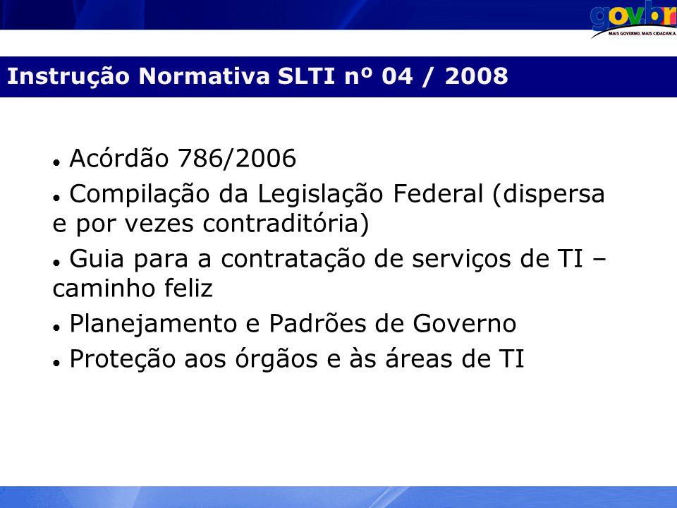 Agenda Instrução Normativa SLTI nº 04 / 2008 Acórdão 786/2006 Compilação da Legislação Federal (dispersa e por vezes contraditória) Guia para a contra