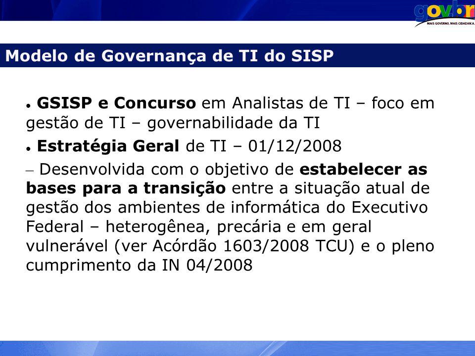 GSISP e Concurso em Analistas de TI – foco em gestão de TI – governabilidade da TI Estratégia Geral de TI – 01/12/2008 – Desenvolvida com o objetivo d