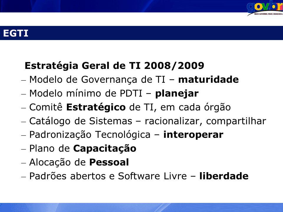 Estratégia Geral de TI 2008/2009 – Modelo de Governança de TI – maturidade – Modelo mínimo de PDTI – planejar – Comitê Estratégico de TI, em cada órgã