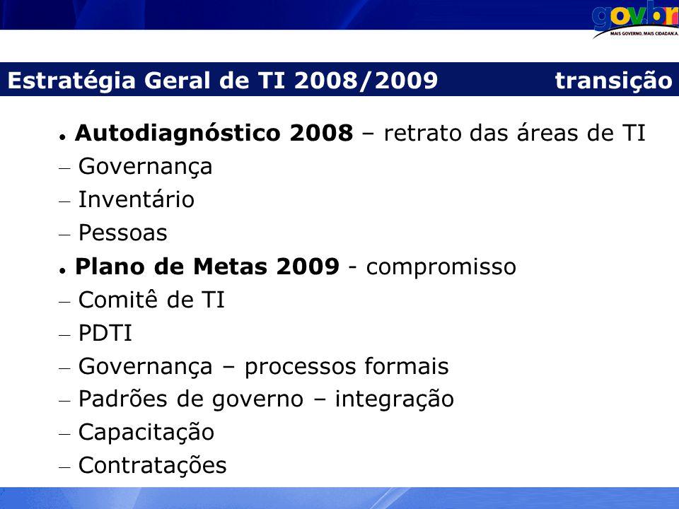 Autodiagnóstico 2008 – retrato das áreas de TI – Governança – Inventário – Pessoas Plano de Metas 2009 - compromisso – Comitê de TI – PDTI – Governanç