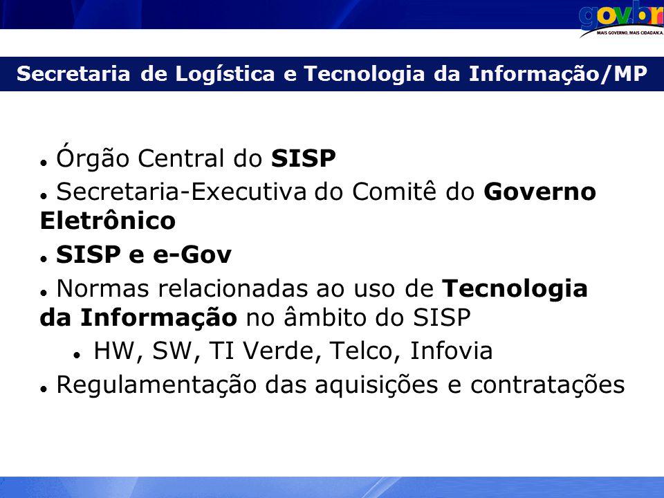 Secretaria de Logística e Tecnologia da Informação/MP Órgão Central do SISP Secretaria-Executiva do Comitê do Governo Eletrônico SISP e e-Gov Normas r
