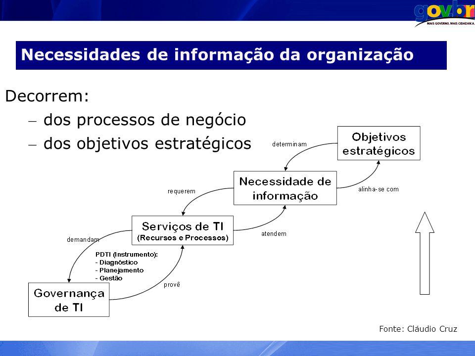 Necessidades de informação da organização Decorrem: – dos processos de negócio – dos objetivos estratégicos Fonte: Cláudio Cruz
