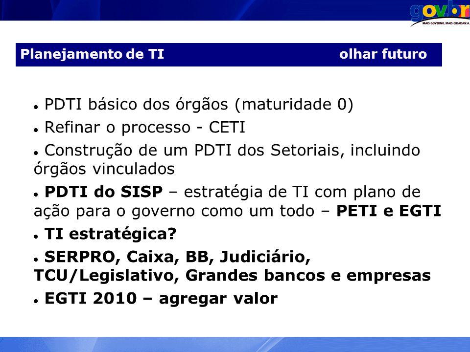 Planejamento de TI olhar futuro PDTI básico dos órgãos (maturidade 0) Refinar o processo - CETI Construção de um PDTI dos Setoriais, incluindo órgãos