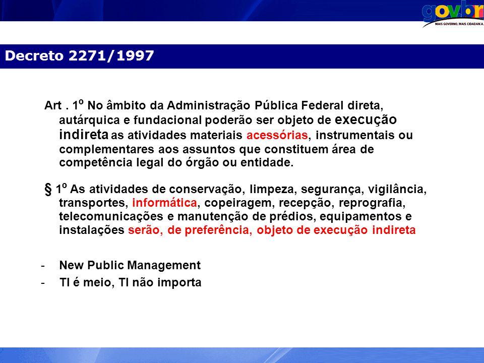 Decreto 2271/1997 Art. 1 º No âmbito da Administração Pública Federal direta, autárquica e fundacional poderão ser objeto de execução indireta as ativ