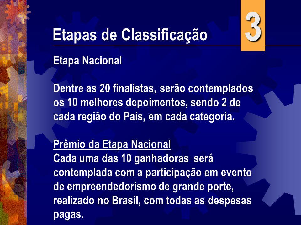 Etapas de Classificação Etapa Nacional Dentre as 20 finalistas, serão contemplados os 10 melhores depoimentos, sendo 2 de cada região do País, em cada