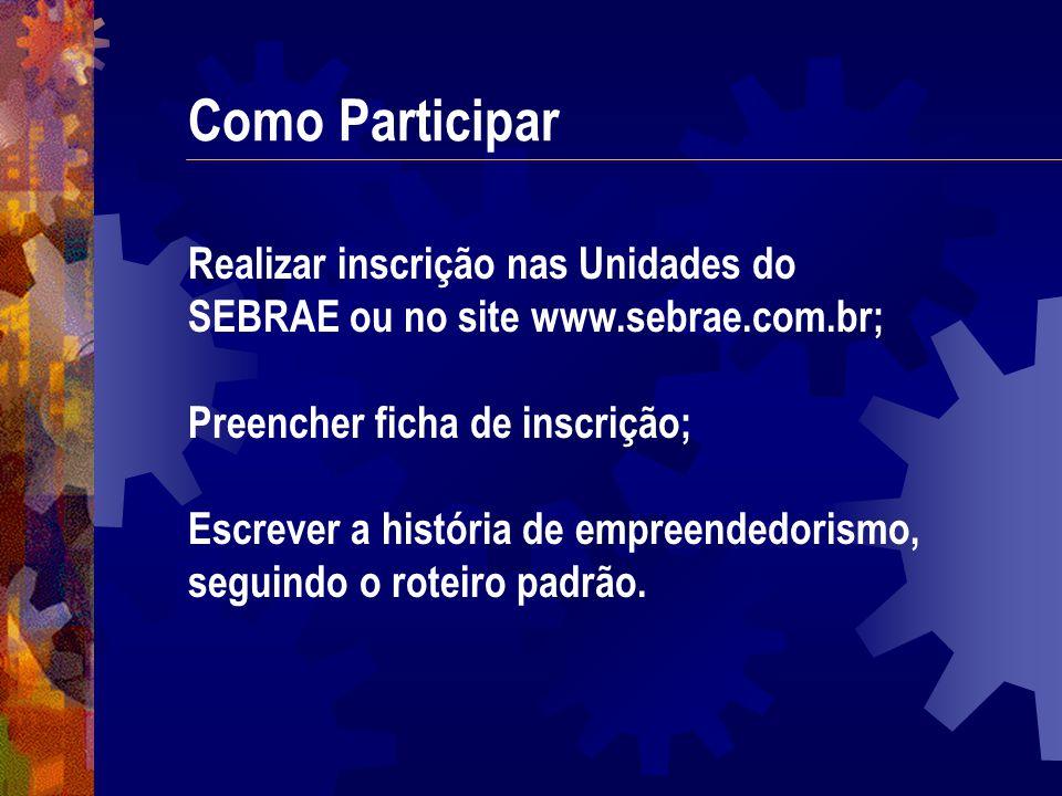 Como Participar Realizar inscrição nas Unidades do SEBRAE ou no site www.sebrae.com.br; Preencher ficha de inscrição; Escrever a história de empreende
