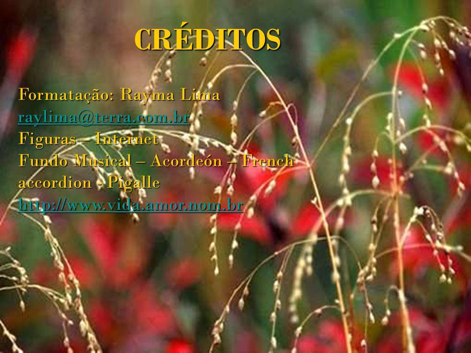 CRÉDITOS Formatação: Rayma Lima raylima@terra.com.br Figuras – Internet Fundo Musical – Acordeón – French accordion - Pigalle http://www.vida.amor.nom.br
