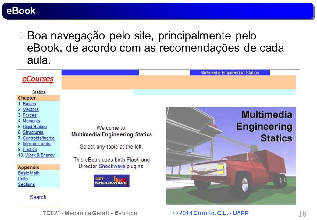 TC021 - Mecânica Geral I - Estática © 2014 Curotto, C.L. - UFPR 18 eBook Boa navegação pelo site, principalmente pelo eBook, de acordo com as recomend