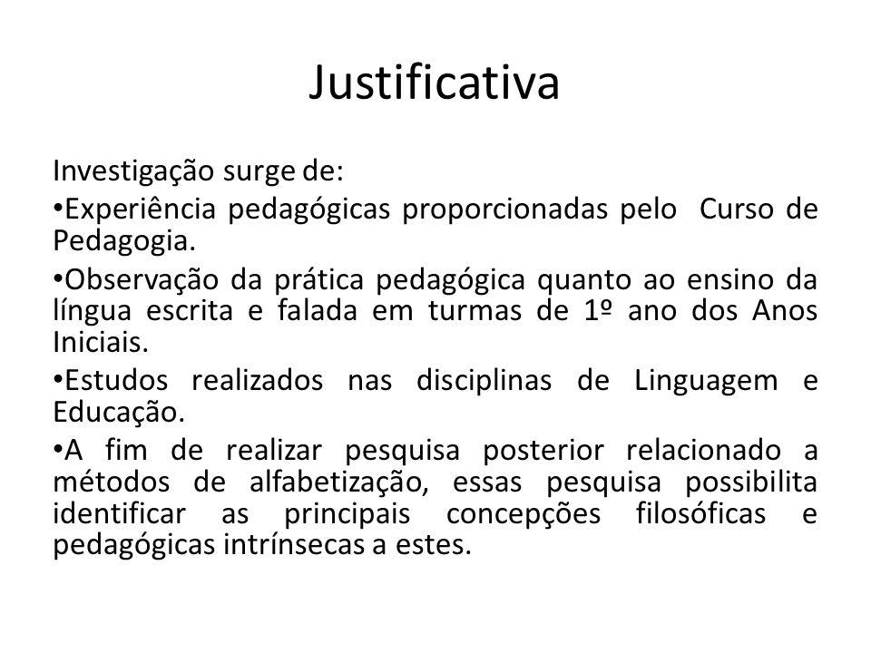 Justificativa Investigação surge de: Experiência pedagógicas proporcionadas pelo Curso de Pedagogia. Observação da prática pedagógica quanto ao ensino