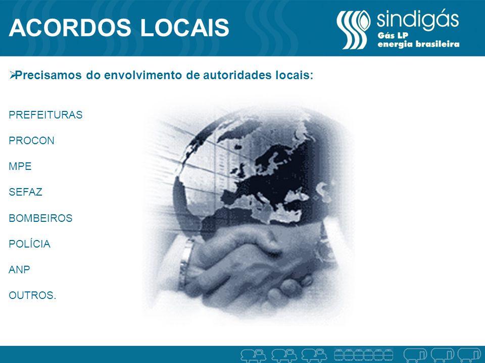 ACORDOS LOCAIS Precisamos do envolvimento de autoridades locais: PREFEITURAS PROCON MPE SEFAZ BOMBEIROS POLÍCIA ANP OUTROS.