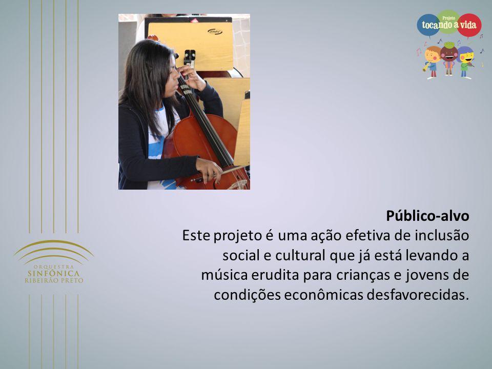 Público-alvo Este projeto é uma ação efetiva de inclusão social e cultural que já está levando a música erudita para crianças e jovens de condições ec
