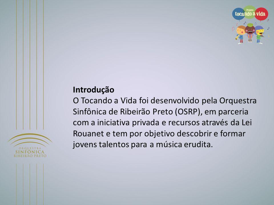 Introdução O Tocando a Vida foi desenvolvido pela Orquestra Sinfônica de Ribeirão Preto (OSRP), em parceria com a iniciativa privada e recursos atravé