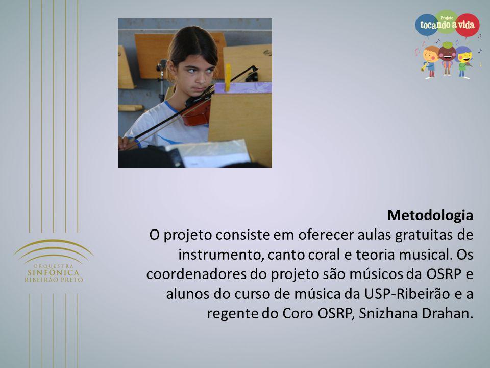 Metodologia O projeto consiste em oferecer aulas gratuitas de instrumento, canto coral e teoria musical. Os coordenadores do projeto são músicos da OS