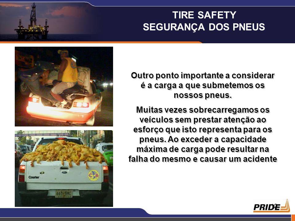 12 Outro ponto importante a considerar é a carga a que submetemos os nossos pneus. Muitas vezes sobrecarregamos os veículos sem prestar atenção ao esf