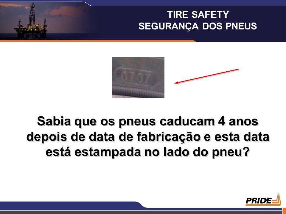 4 Sabia que os pneus caducam 4 anos depois de data de fabricação e esta data está estampada no lado do pneu? TIRE SAFETY SEGURANÇA DOS PNEUS