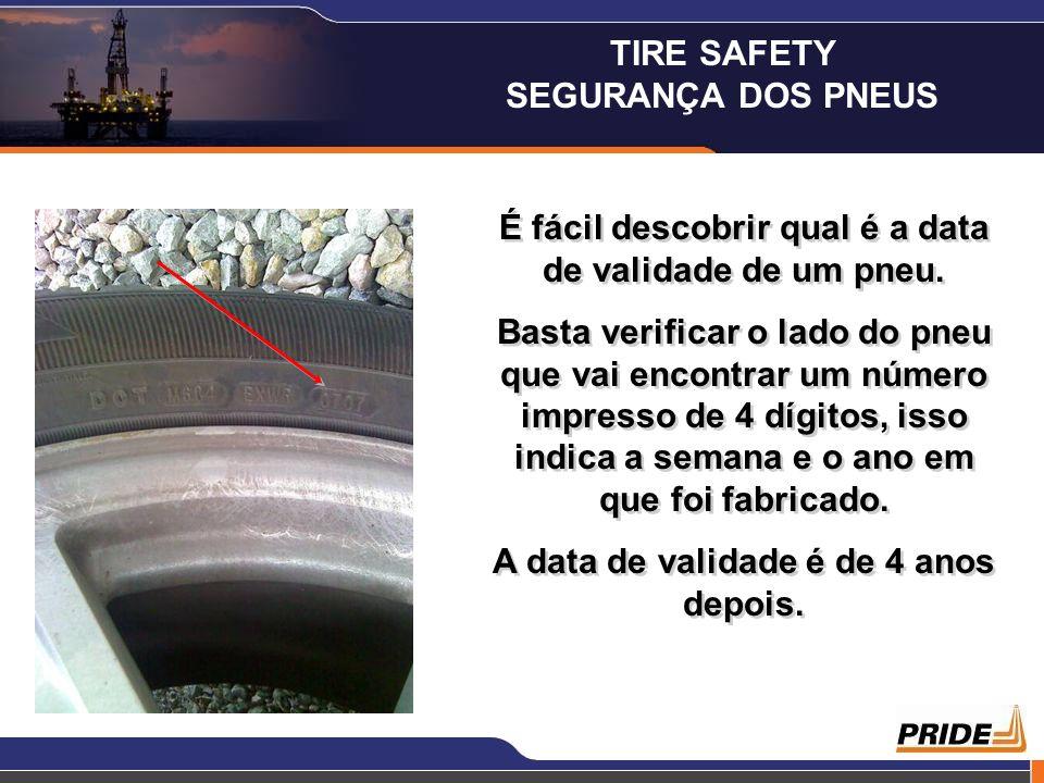 É fácil descobrir qual é a data de validade de um pneu. Basta verificar o lado do pneu que vai encontrar um número impresso de 4 dígitos, isso indica