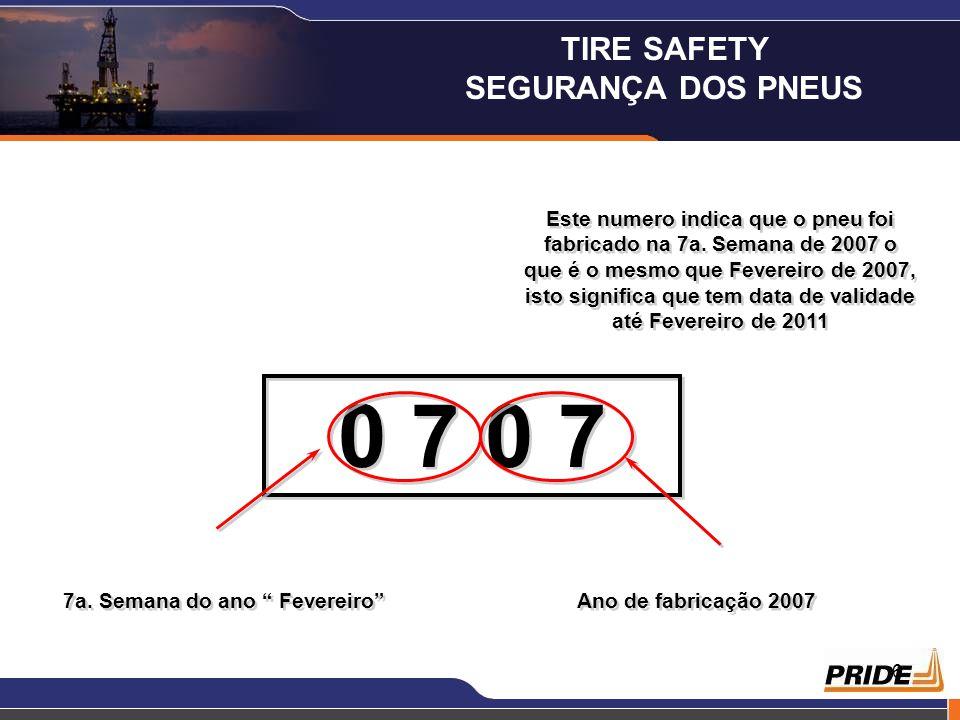6 Este numero indica que o pneu foi fabricado na 7a. Semana de 2007 o que é o mesmo que Fevereiro de 2007, isto significa que tem data de validade até