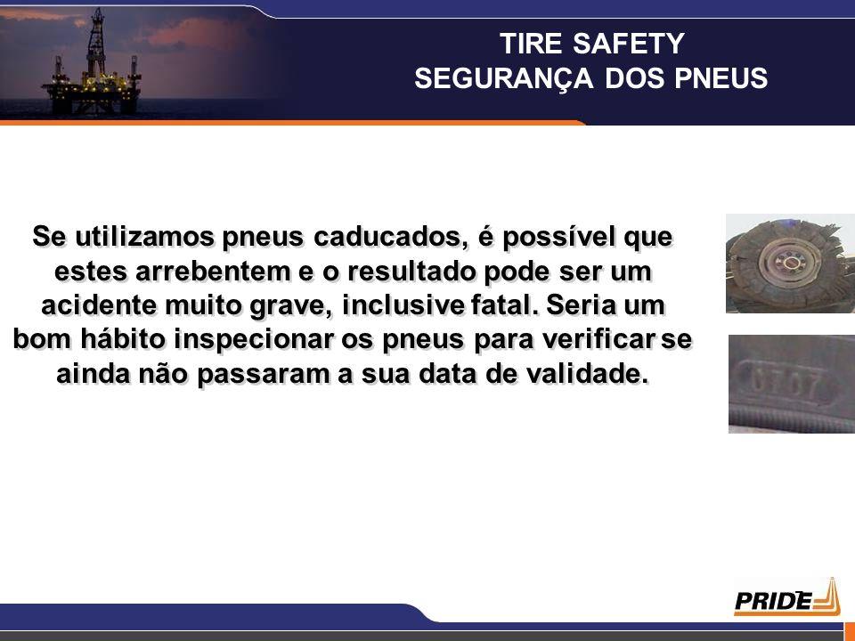 7 Se utilizamos pneus caducados, é possível que estes arrebentem e o resultado pode ser um acidente muito grave, inclusive fatal. Seria um bom hábito