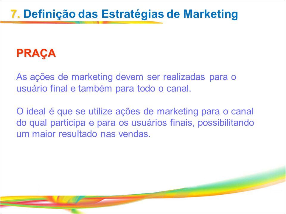 PRAÇA As ações de marketing devem ser realizadas para o usuário final e também para todo o canal. O ideal é que se utilize ações de marketing para o c