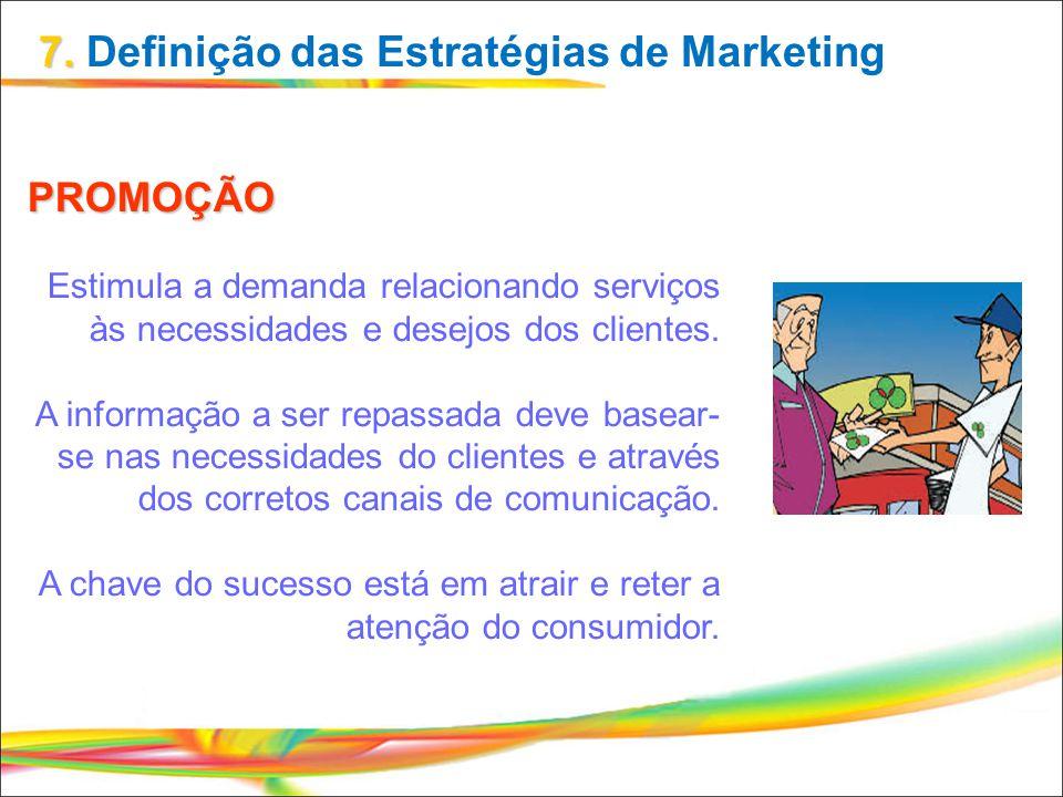 PROMOÇÃO Estimula a demanda relacionando serviços às necessidades e desejos dos clientes. A informação a ser repassada deve basear- se nas necessidade