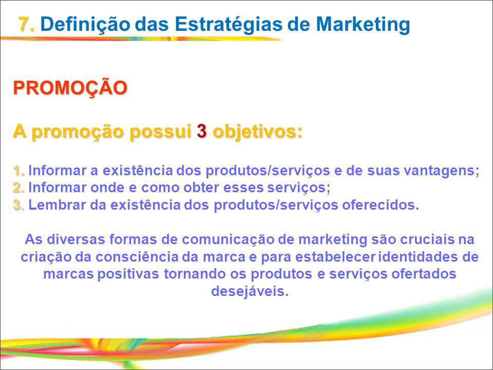 PROMOÇÃO A promoção possui 3 objetivos: 1. Informar a existência dos produtos/serviços e de suas vantagens; 2. Informar onde e como obter esses serviç