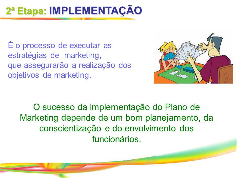 2ª Etapa: IMPLEMENTAÇÃO É o processo de executar as estratégias de marketing, que assegurarão a realização dos objetivos de marketing. O sucesso da im