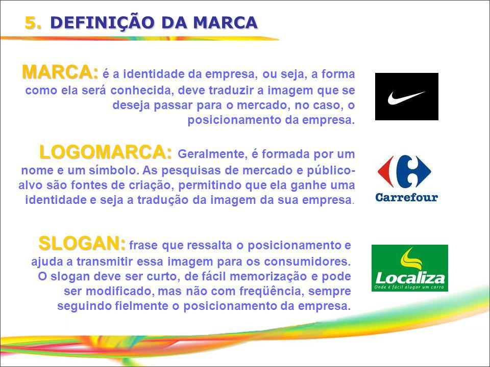 5. DEFINIÇÃO DA MARCA MARCA: é a identidade da empresa, ou seja, a forma como ela será conhecida, deve traduzir a imagem que se deseja passar para o m