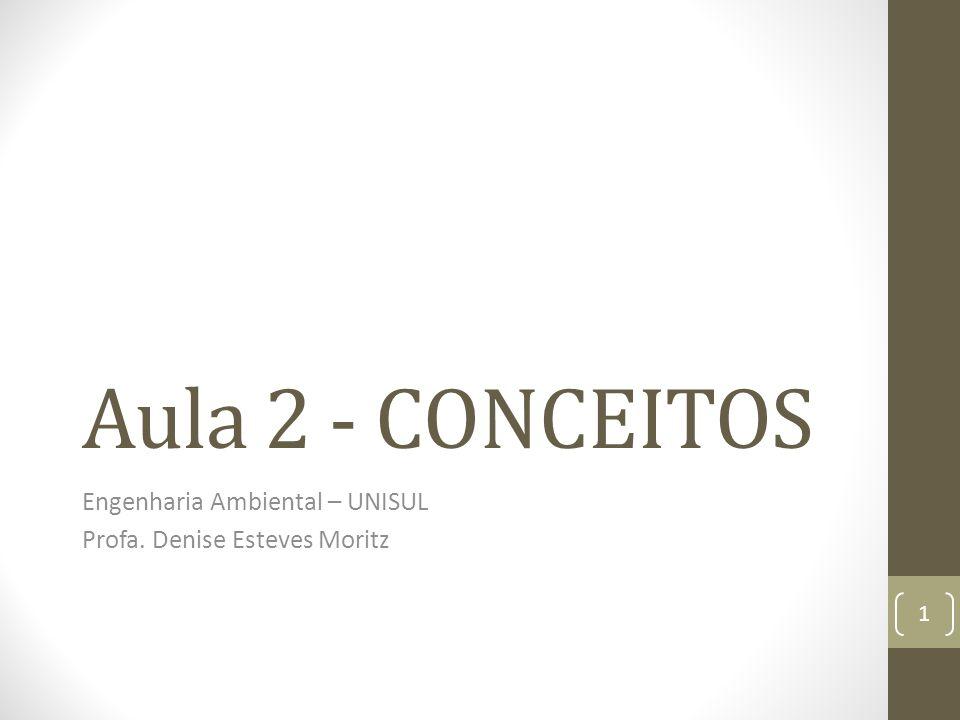 Aula 2 - CONCEITOS Engenharia Ambiental – UNISUL Profa. Denise Esteves Moritz 1