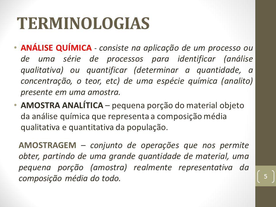 TERMINOLOGIAS ANÁLISE QUÍMICA - consiste na aplicação de um processo ou de uma série de processos para identificar (análise qualitativa) ou quantifica