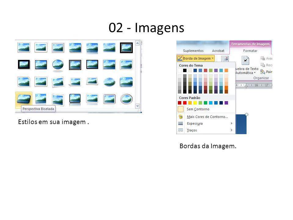02 - Imagens Estilos em sua imagem. Bordas da Imagem.