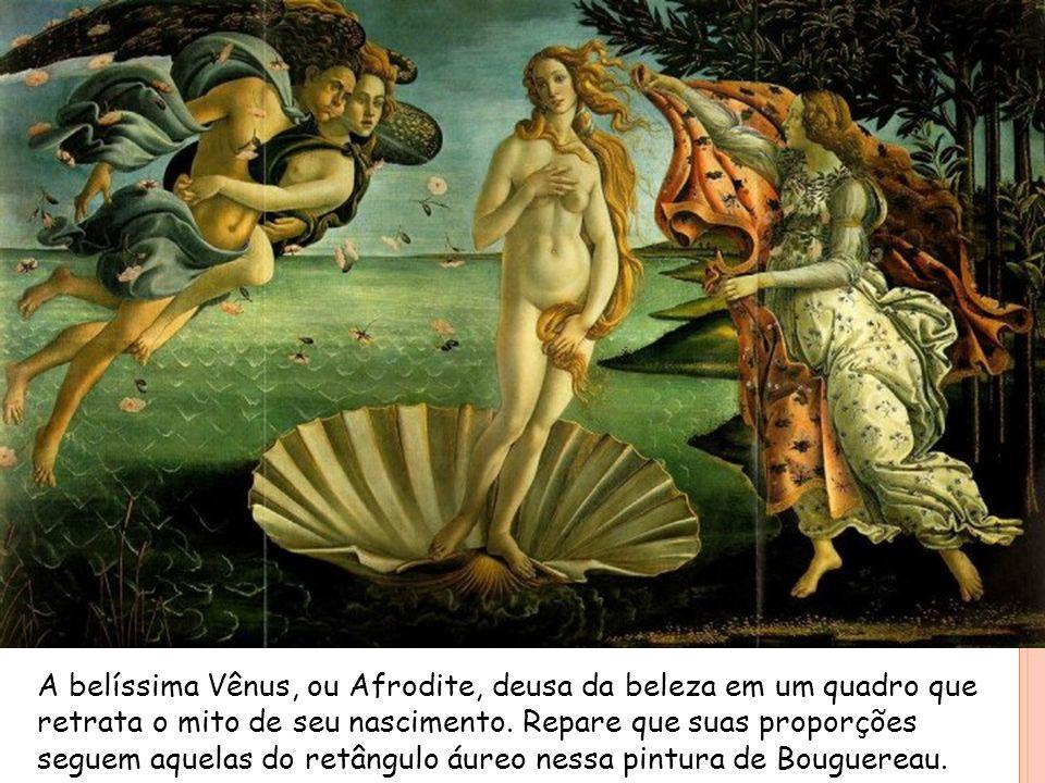 A belíssima Vênus, ou Afrodite, deusa da beleza em um quadro que retrata o mito de seu nascimento. Repare que suas proporções seguem aquelas do retâng