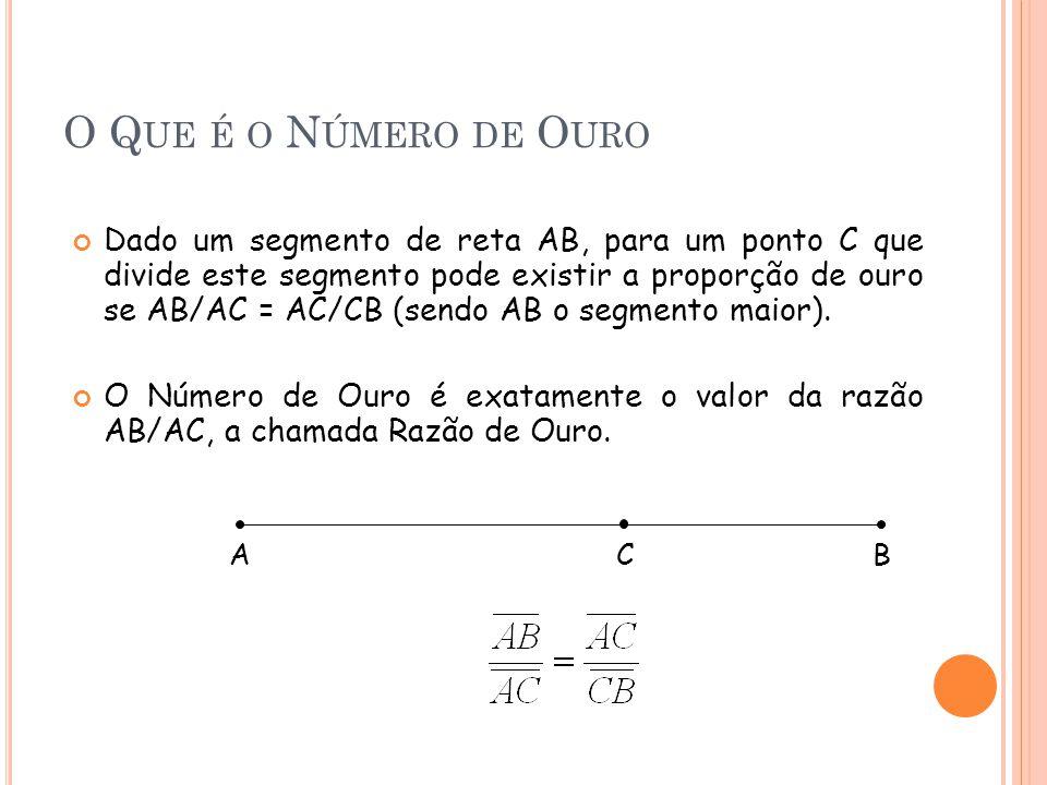 O Q UE É O N ÚMERO DE O URO Dado um segmento de reta AB, para um ponto C que divide este segmento pode existir a proporção de ouro se AB/AC = AC/CB (sendo AB o segmento maior).