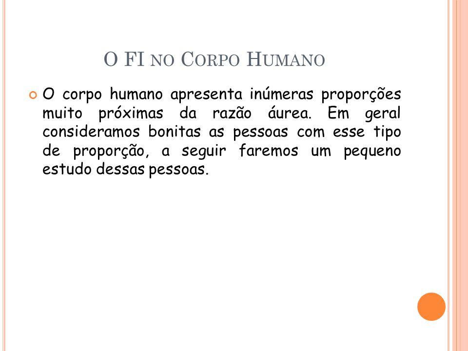 O FI NO C ORPO H UMANO O corpo humano apresenta inúmeras proporções muito próximas da razão áurea.