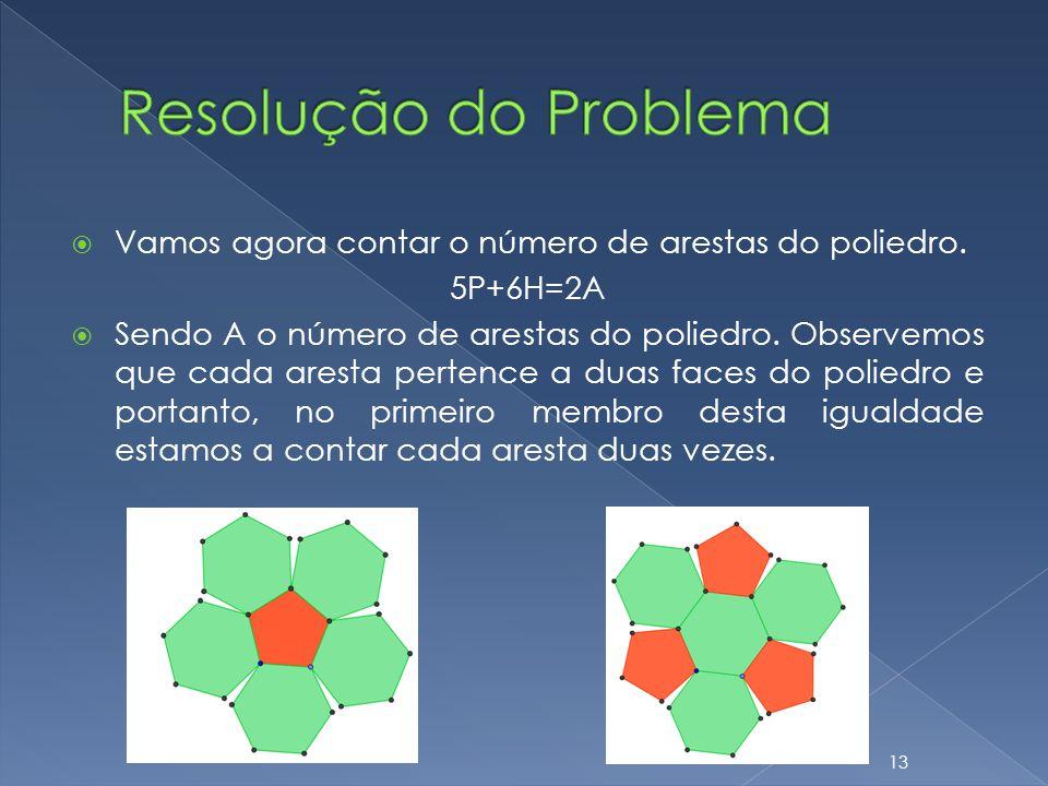 Vamos agora contar o número de arestas do poliedro. 5P+6H=2A Sendo A o número de arestas do poliedro. Observemos que cada aresta pertence a duas faces