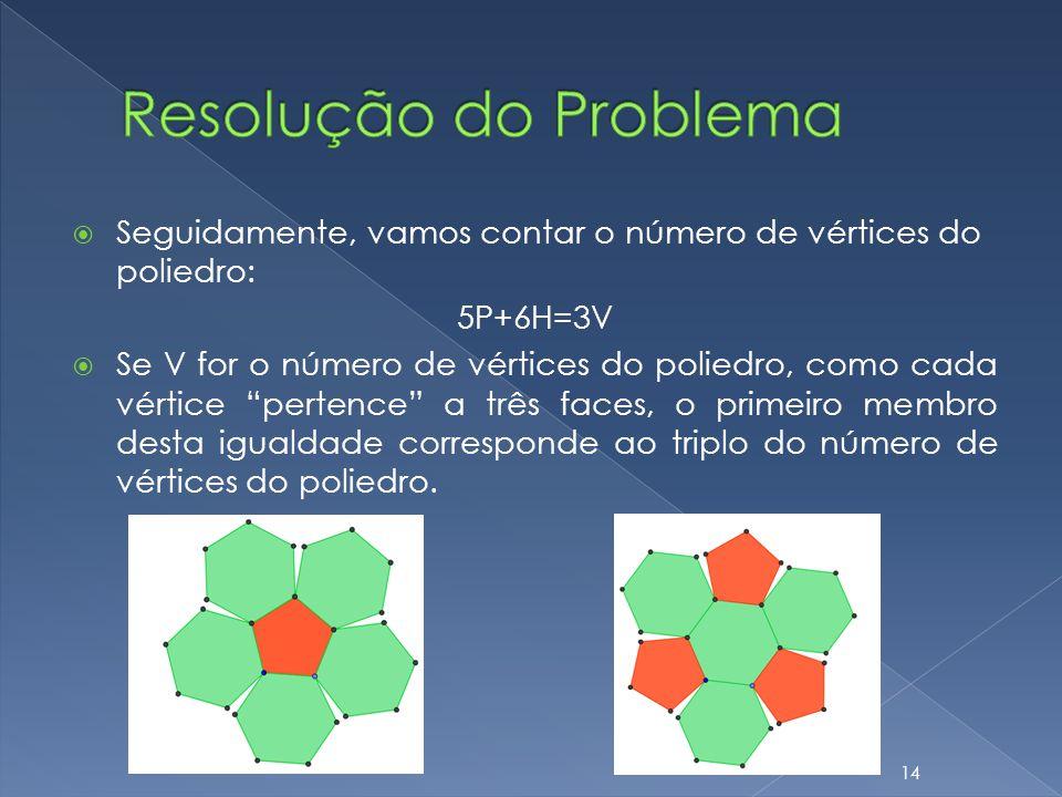 Seguidamente, vamos contar o número de vértices do poliedro: 5P+6H=3V Se V for o número de vértices do poliedro, como cada vértice pertence a três fac